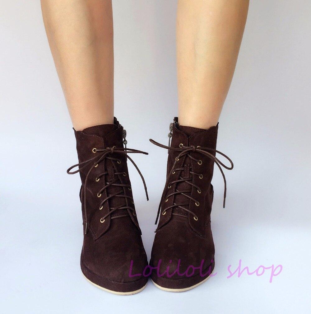 Princess sweet lolita shoes loliloli yoyo Japanese design custom big size brown flock lace-up short high-heeled boots 6670