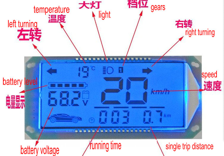 electric scooter conversion LCD display 48v-96v blue screen FOR QIAOGE XUNYING pedal scooter parts speed battery level indicator