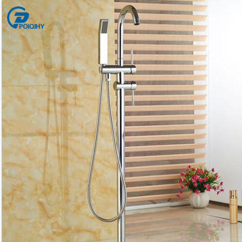 POIQIHY Chrome finished Floor Tub Filler Tub Faucet Mixer Tap Chrome Floor Bathtub Faucet Hand Sprayer