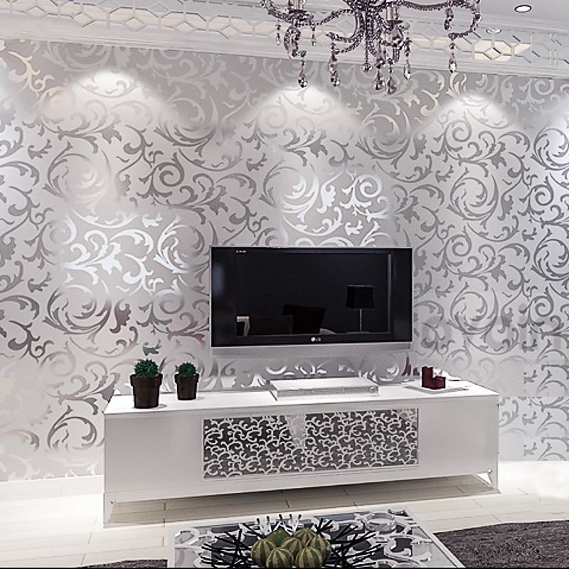 Compare prices on silver leaf wallpaper online shopping for Silver bedroom wall art