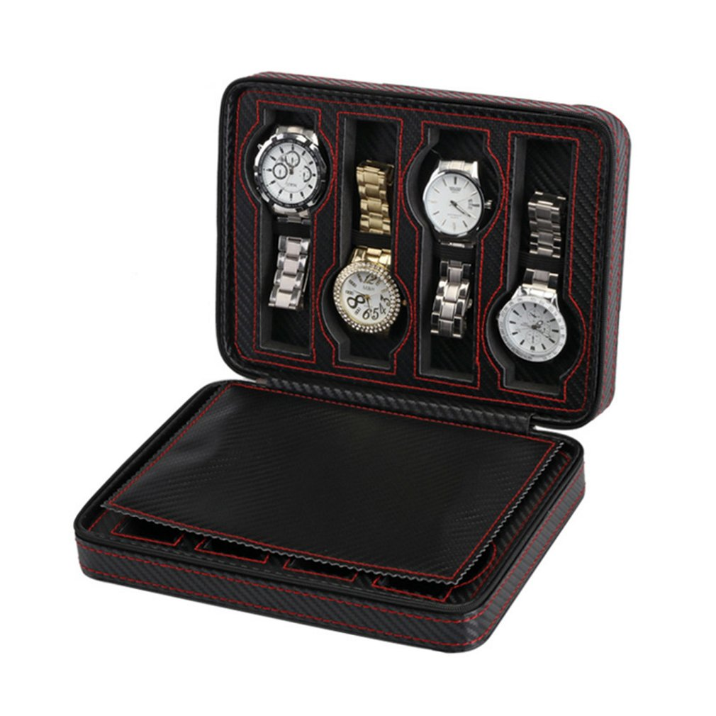 2/4/8 Grids Carbon Fibre Leather Watch Box Storage Watches Display Case Tray Zippere Portable Travel Jewelry Watch Collector New2/4/8 Grids Carbon Fibre Leather Watch Box Storage Watches Display Case Tray Zippere Portable Travel Jewelry Watch Collector New
