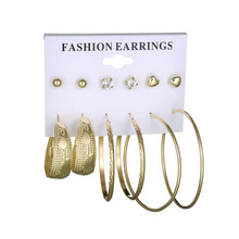 MissCyCy Fashion Simulated Pearl Heart Rhinestone 6 Pair Set Earrings for Women Punk Gold Color Hoop Earring Jewelry Gift(China)