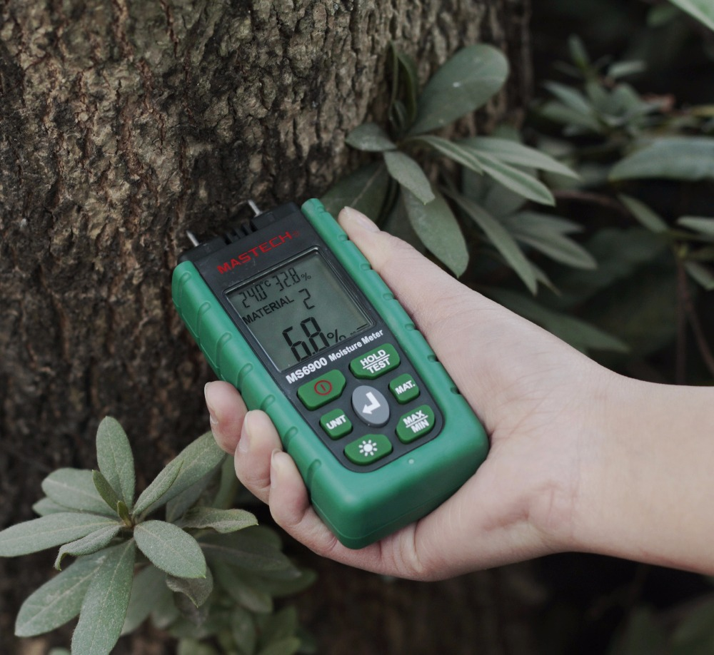 Mastech MS6900 Digital Moisture Meter Wood/ Lumber/Concrete Buildings Temperature Humidity Tester with LCD Display BackLight mastech ms6900 portable digital timber wood moisture meter lcd hygrometer temperature meter humidity meter tester