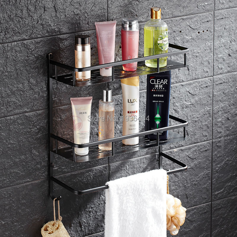 ФОТО Bathroom Accessories Storage Holders Copper High Quality Retro Black Basket Shelf Wall Mounted Dual Tier Basket Rack BS3241