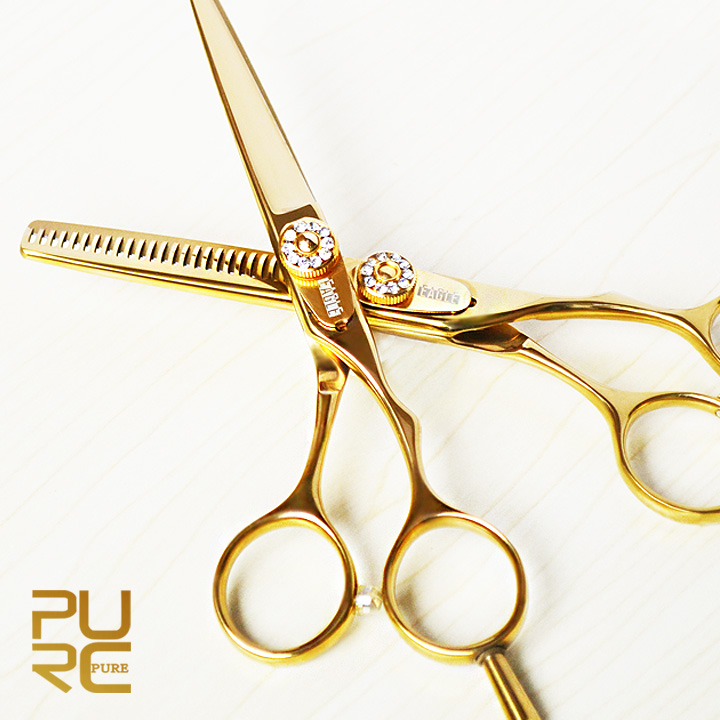 Gold titanium 5.5 inch hair cutting scissors and hair thinning scissors hot sale hair scissors set Merry Christmas free shipping tesoura de tosa fenice