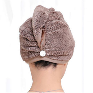 Image 2 - 新ホット女性大型クイックドライツイストヘアターバンタオル高速固体マイクロファイバーヘアラップバスタオルキャップ帽子