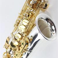 New Eb Tune Alto Saxophone Musical Instrument Silver Body Gold Key with Case