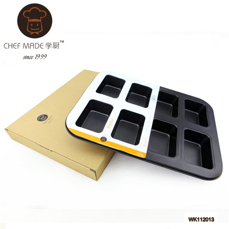 Large 8 <font><b>Cup</b></font> <font><b>Petite</b></font> Square Loaf Pan Moulds Carbon Stainless Steel Non-stick <font><b>Baking</b></font> Mold DIY <font><b>Baking</b></font> CF037