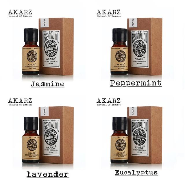 Famosa marca akarz 100% pure jasmine óleos de eucalipto hortelã lavende pack para massagem de aromaterapia spa banho de 10 ml * 4