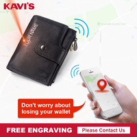 KAVIS rfid Smart Wallet Genuine Leather with alarm GPS Map Bluetooth Black Men Purse High Quality Design Wallets Free Engraving