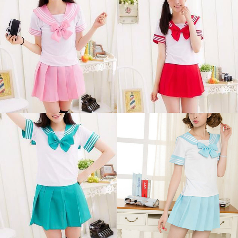 2017 7 Colors Girls Dress Cosplay Costume Brand Girls Japanese School Uniform Party Dress Lovely Short Style Sex Sailor Costume