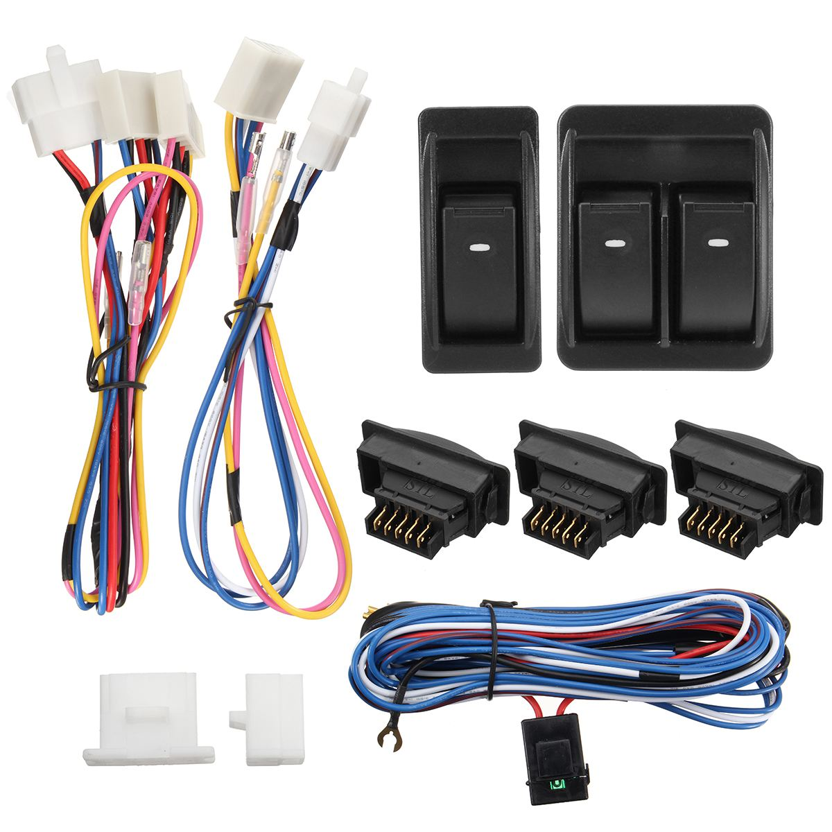 1 Set 12V Car SUV Off-Road Power Door Window Glass Lift LED Switch & Wiring Harness 2016 mini clubman one coopers side door power window switch center console panel covers accessories car stickers for f54 6 door