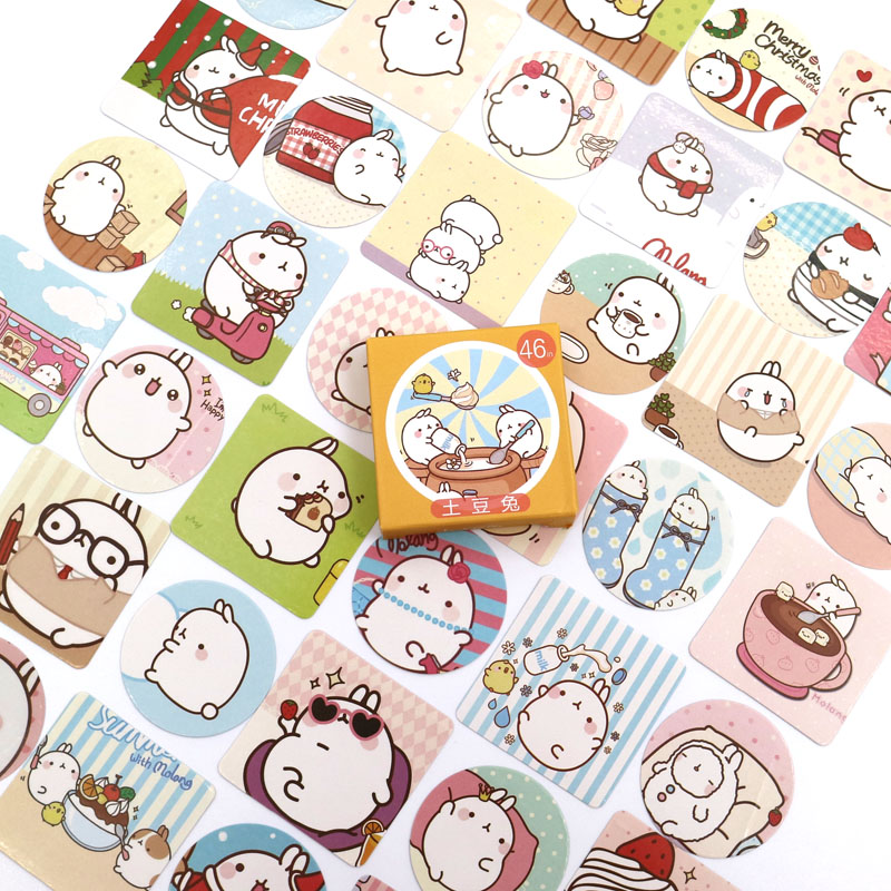 Kawaii Decoracion Journal Cute Diary Rabbit Stickers Scrapbooking Stationery Stickers Office School Supplies 46PCS/box