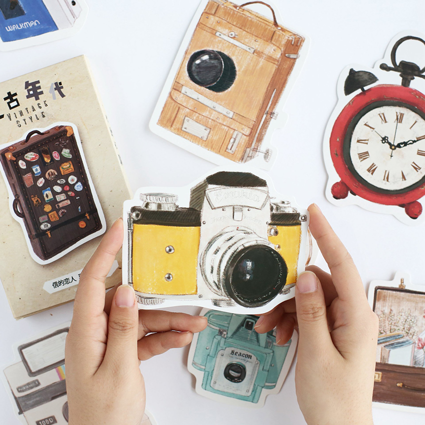 30 PCS/ Set Retro Age Postcards Irregular Vintage Telephone, Pocket Watch, Typewriter, Globe Postcard Set Paper Greeting Card