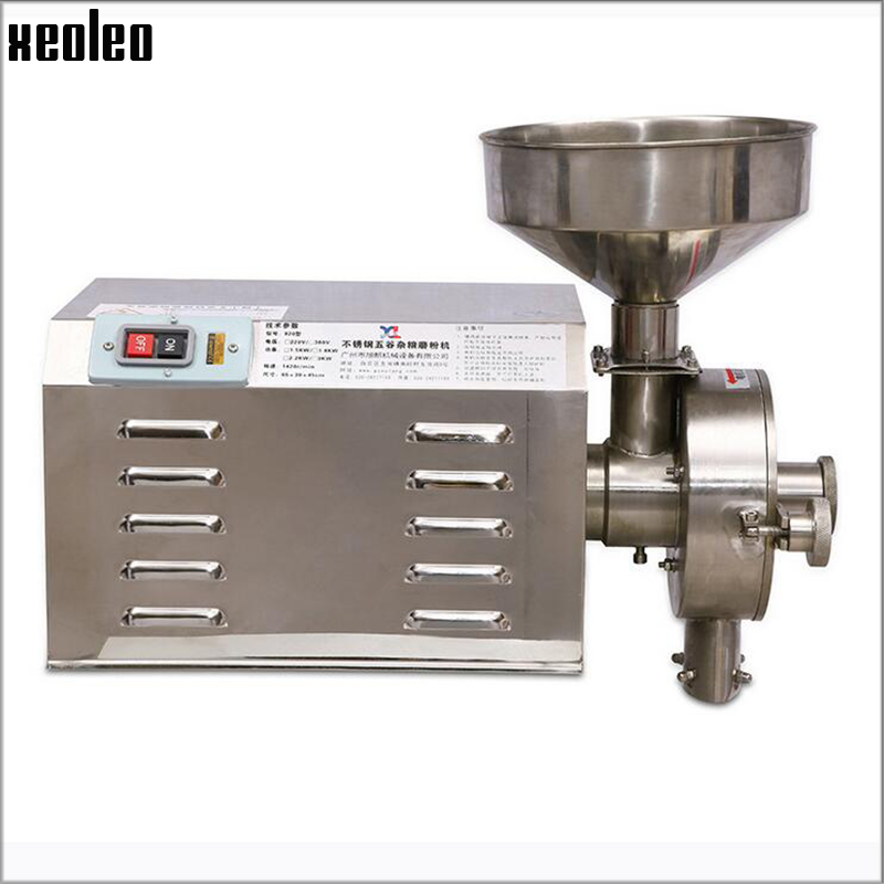 Xeoleo Commercial Grains Grinder Wheat/rice/corn Milling machine stainless steel Whole Grains Grinding machine 30kg/h brand new original oem projector lamp with housing dt01435 bulb for hitachi hcp 240x hcp 280x hcp 340x hcp 380x