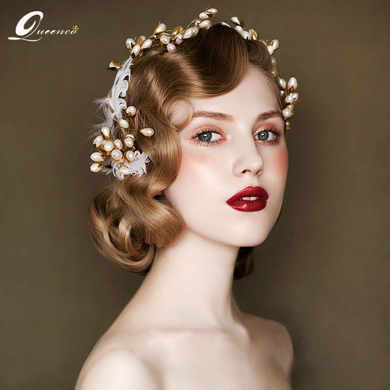2 PCS Vintage Bridal Hair Comb Retro Pearls Wedding Hair
