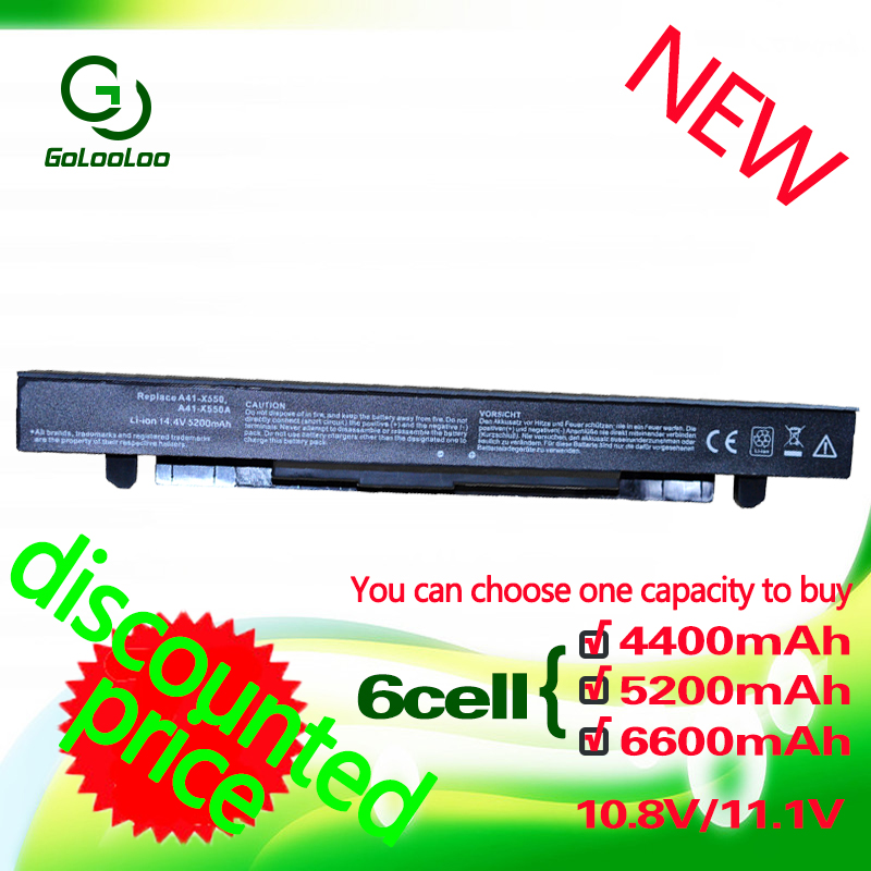Golooloo 4400MaH 8 cell Laptop Battery for Asus A41-X550 A41-X550A A450 A550 F550 F552 K450 K550 P450 P550 R409 R510 X450 X550V
