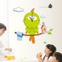 Owl Cheap Cute Wall Clock 3D DIY Wall Sticker Cartoon Vinyl Clocks Home Decor Children Gift Clock Wall Sticker Duvar Saati Z031