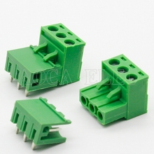 Free shipping 10 sets ht5.08 3pin Right angle Terminal plug type 300V 10A 5.08mm pitch connector pcb screw terminal block insurance block 10a