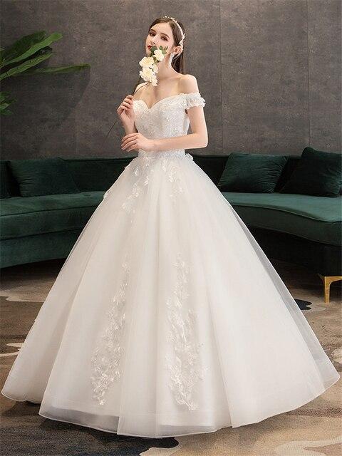 Plus Size Lace Flowers Peals Wedding Dresses Simple Elegant Wedding Gowns Bride Dress Boda robe de mariee Boat neck Off Shoulder 3