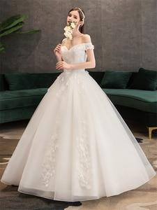 Image 3 - Plus Size Lace Flowers Peals Wedding Dresses Simple Elegant Wedding Gowns Bride Dress Boda robe de mariee Boat neck Off Shoulder