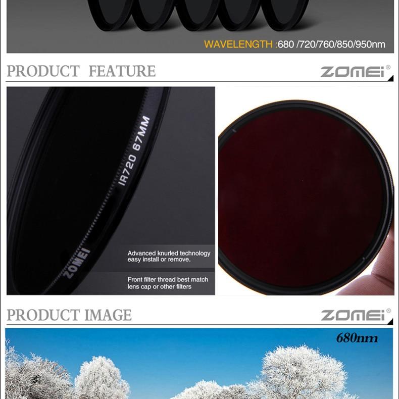 zomei IR 76 760 nm IR76 X-Ray Infrared Filter for DSLR SLR camera lens 52mm 58mm 72mm 77mm For Canon Nikon Sony Pentax Hoya lens 3