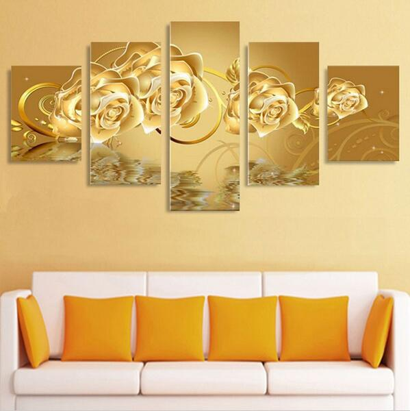 5 Panels Gold Rose Flowers Modern Oil Painting Canvas Wall for Home ...