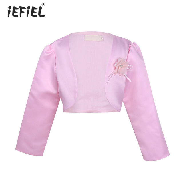 799cb5ae8 Kids Girls 3D Flower Bolero Jacket Shrug Short Cardigan Coats ...