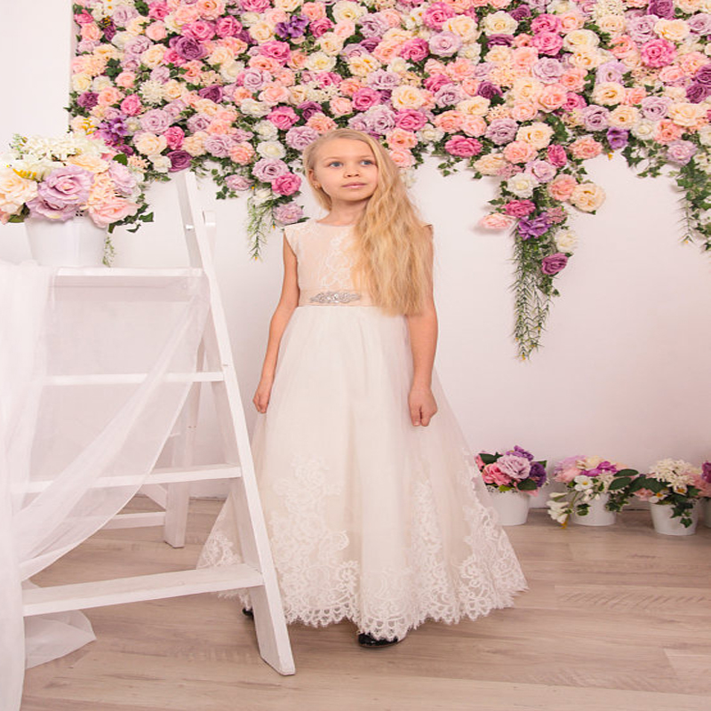Sleeveless Flower Girl Dresses A-Line Lace Mother Daughter Dresses Tulle Children Clothing Ankle-Length Holy Communion Dresses ankle length flower girl dresses a line girl birthday party princess dresses children girl dresses sleeveless primera comunion