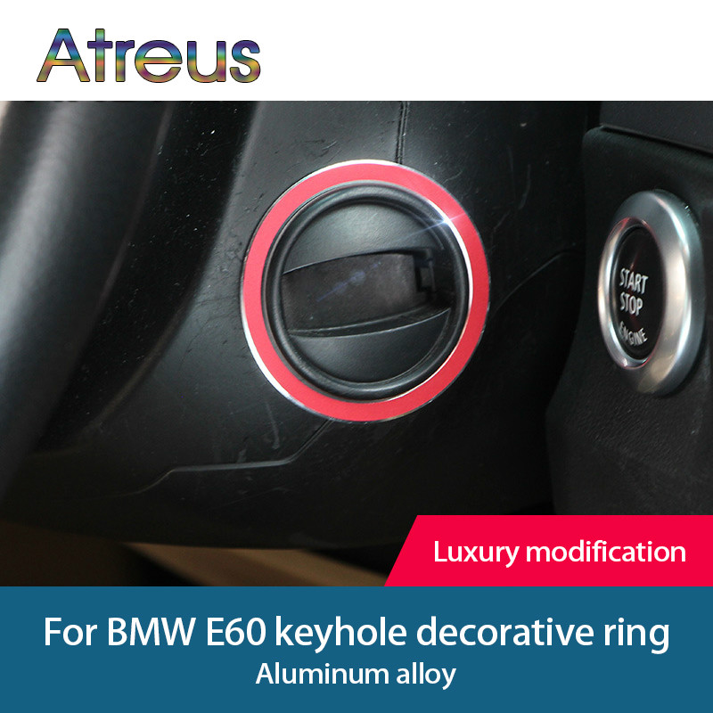 Atreus 1pcs For <font><b>bmw</b></font> <font><b>e60</b></font> Aluminum Alloy Car <font><b>Interior</b></font> Keyhole Ring Decoration Cover M Stripe Trim 5 series 2004-2010 Car <font><b>Styling</b></font> image