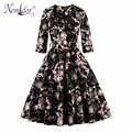 Nemidor Women Plus Size Vintage 50s 3/4 Sleeve Rockabilly Dress Patchwork Belted Party Retro Swing Dress