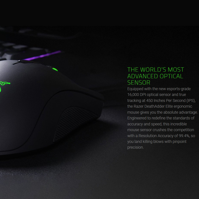 Razer DeathAdder Elite Wired Gaming Mouse 16000DPI Optical Sensor 7 Independently Programmable Buttons Ergonomic Design 5