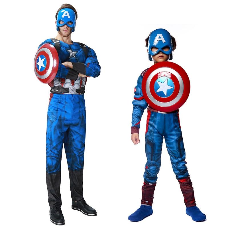 Superhero Kids Captain America Costume Adult Men Avengers Child Cosplay Super Hero Halloween Costumes For Kids Boys Girls