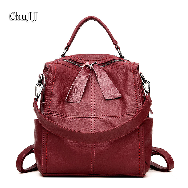 Chu JJ Multifunctional Patchwork Women's Backpacks Girls Students School Bag Genuine Leather Shoulder Bags Women Travel Bag chu jj new arrival genuine leather women backpacks fashion backpacks for girls casual travel women school bag