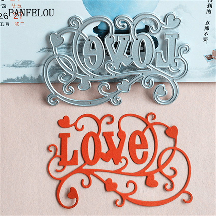 PANFELOU Metal craft Vines love words paper die cutting dies for Scrapbooking/DIY Christmas wedding Halloween cards