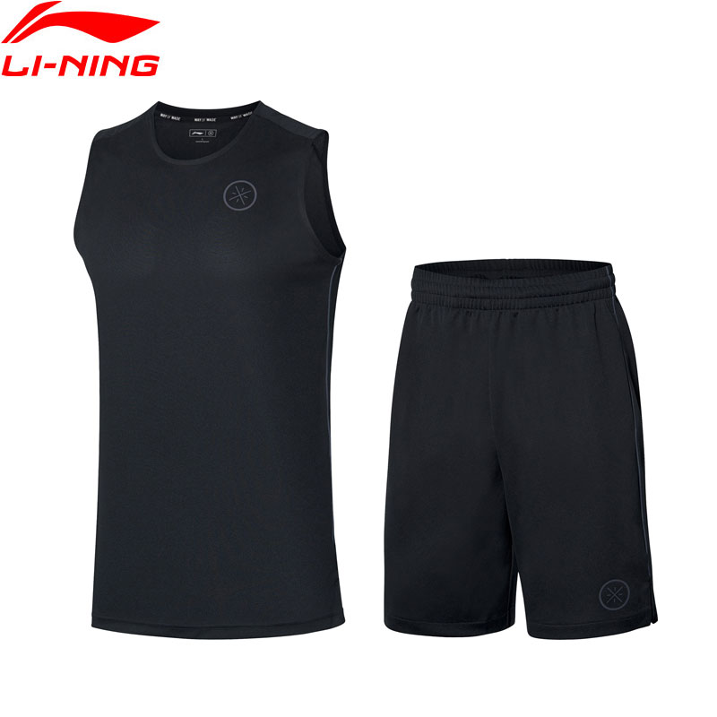 Li Ning Men Wade Basketball Competition Uniform Suit Polyester AT DRY Breathable Vest Shorts LiNing Sport