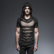 Steampunk Gothic Men Hooded Mesh T-Shirt Black Short Sleeve Hollow Out Tee Shirt Tops