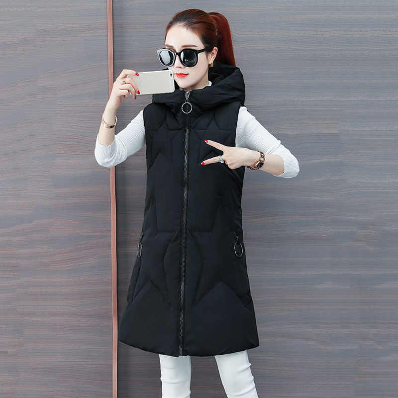 Down Cotton Vest Coat Female 2018 Autumn Winter New Korean Fashion Thick Warm Women Sleeveless Hooded Parkas Jacket LQ417