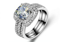 choucong Cushion cut 8mm Stone 5A Zircon stone 10KT White Gold Filled 3 in 1 Engagement Wedding Ring Set Size 5 11 Gift
