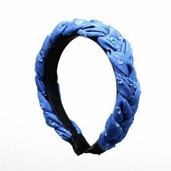 Denim tressé large 3 cm de large bandeaux de conception unie femmes accessoires de cheveux bandeaux d'hiver