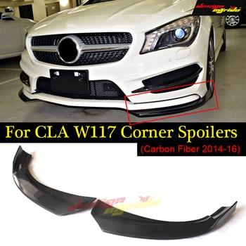 1Pair Car Carbon Fiber Front Bumper Splitter Spoilers Canard for Mercedes for Benz W117 C117 X117 CLA200 CLAA250 CLAA45 2014-18