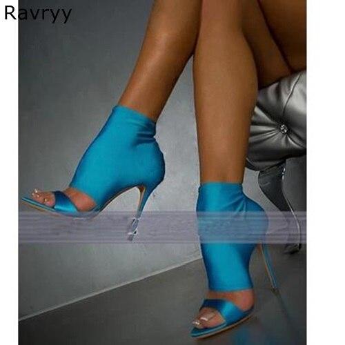 Эластичные Сатиновые сандалии синего цвета; Летние модные женские сандалии до щиколотки с открытым носком; Соблазнительные женские модель