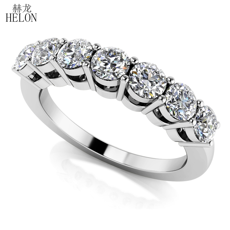 HÉLON Solide 14 K Or Blanc Moissanites Anneau 0.7CT GH Couleur Engagement RingTest Positive Moissanites Bande Diamant De Bijoux De Mariage