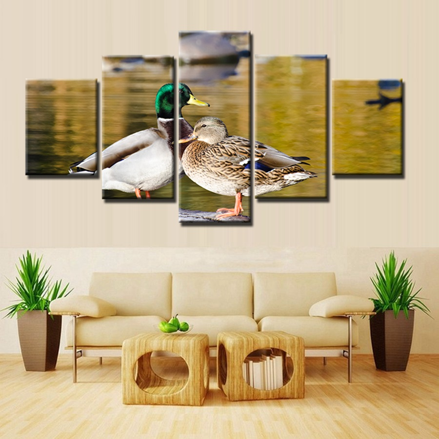 Common Mallard Color Duck Animals Painting 5pcs Modular Wall Art Home Decor Canvas Artwork For Living Room Decoration In Calligraphy