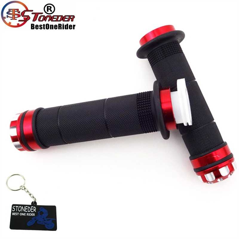 STONEDER 7/8'' Red Twist Throttle Handle Hand Grips For Quad ATV Pit Dirt Bike Motorized Bicycle Motorycle Honda XR CRF TRX