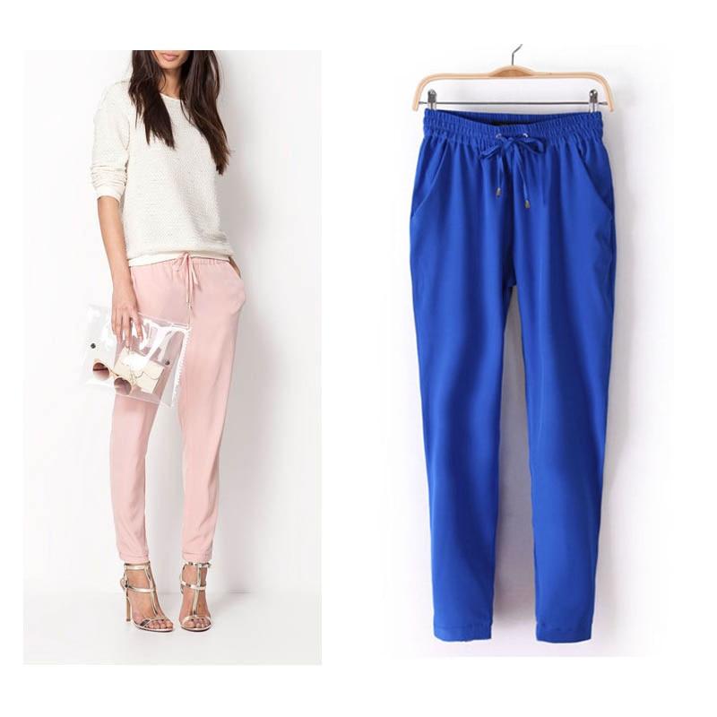 2020 Hot Sale Chiffon Pants Summer Women Pants Casual Harem Pants Drawstring Elastic Waist Pants Plus Size Women Trousers