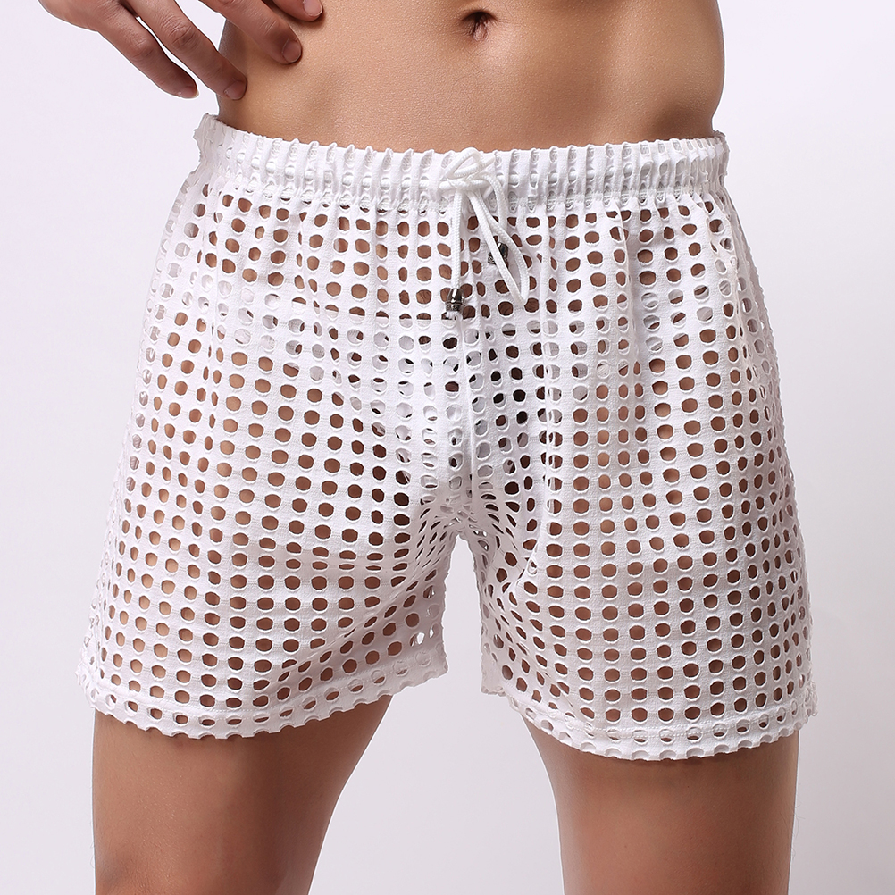 Casual Shorts Men's Fashion Style Breathable Shorts Sexy Hollow Mesh Shorts Men's Short Pants