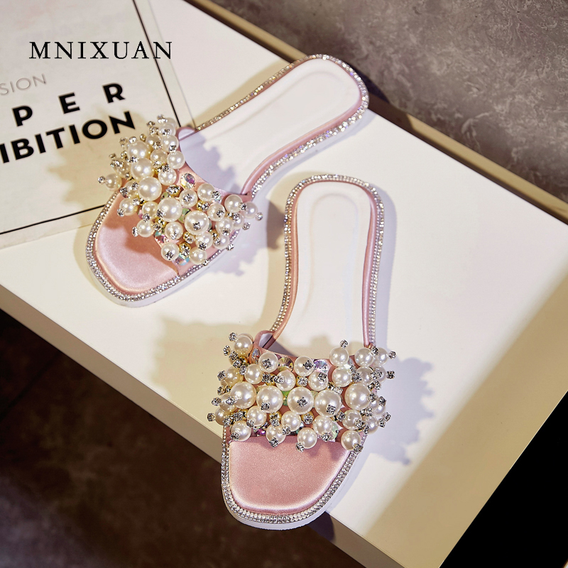 MNIXUAN Korean version women slippers sandals 2018 summer new fashion open toe solid sweet flat heels slides pearls big size 43 mnixuan korean version women slippers