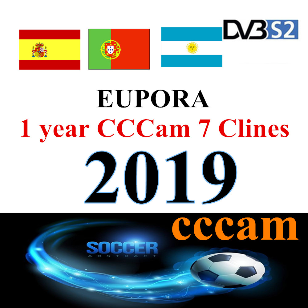 Europe HD Cable 1 Year CCCams For Satellite Tv Receiver 7Clines WIFI FULL HD DVB-S2 Support Spain Cline Ccam Serverl 4k Tv Box
