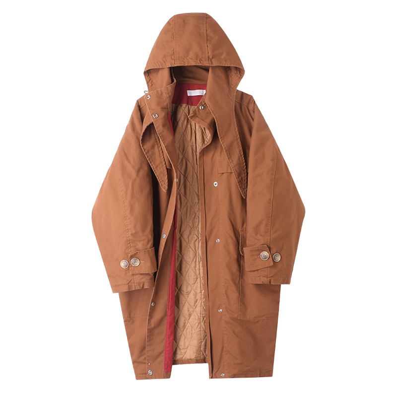 M3b 2018 autumn and winter clothing new Korean fashion quilted hooded long tooling windbreaker jacket M40249